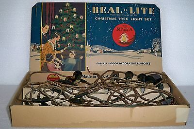 Vintage Real Lite Christmas Tree Light Set String 1930s  Tree Old Retro