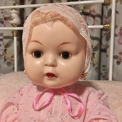 Kader Doll 20 inch 1950's in Beautiful Pink Broderie Anglaise Outfit.