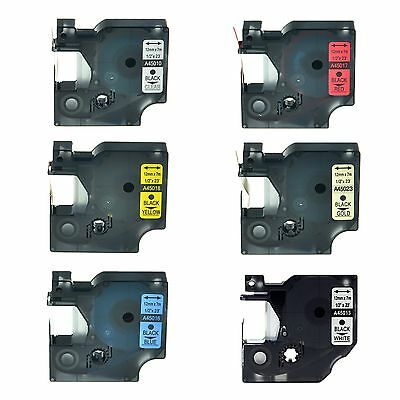 """6PK 45010 45013 45016 45017 45018 45023 Label Tape for DYMO D1 LM160 12mm 1/2"""""""