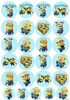 Minions Movie Edible Rice Wafer Paper Cupcake Cake Birthday Christening Toppers
