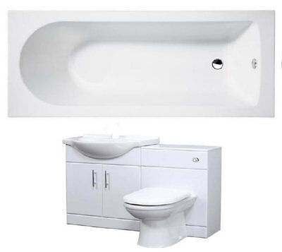 Bathroom Suite 1600mm Bath 550 Vanity Cabinet 500x300mm WC Unit BTW Pan
