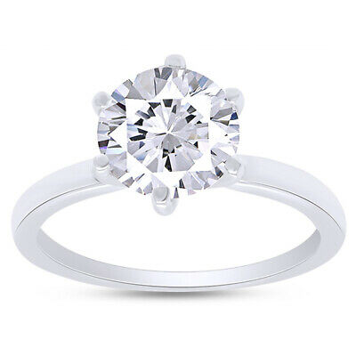 2.00 Ct Round Cut Diamond Engagement  Solitaire Ring Solid in 14k White Gold
