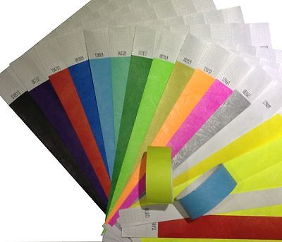 100 Tyvek Security and Event Wristbands - CHOICE OF COLOURS