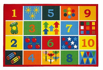 Childs Rug Mat Playroom Nursery Boys Girls Numbers Counting