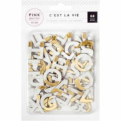 Pink Paislee Brick and Gold Chipboard Letters 68 Pieces Papercraft Cardmaking