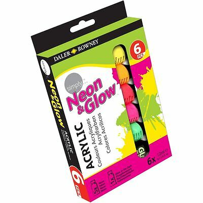 Daler Rowney Simply Acrylic Neon and Glow Paints 12 ml 6 Pack Painting Art Craft