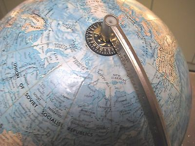 "VINTAGE RETRO 1960's PHILIPS STEREO RELIEF ~ 12"" GLOBE ~ WOOD BASE~ BRASS STAND"