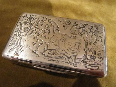 Rare & gorgeous 1819 1838  french sterling niello silver snuff box 2 cats 90g