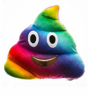 New Soft Padded Gift Rainbow Poop Stuffed Pillow Multi Colour Poo Emoji Cushion