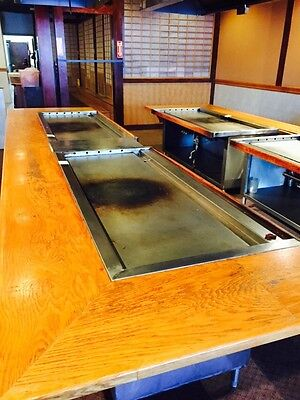 Used Gas Hibachi Grill Griddle Self Contained W. Stainless Cabinet / Undershelf