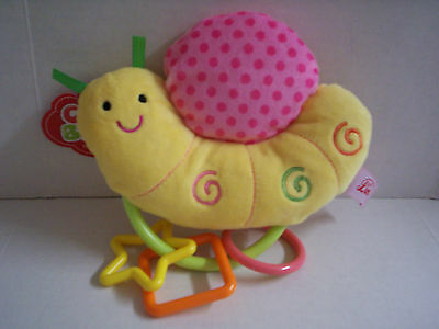 Snail Plush Rattle By Lenzy, Girl, Yellow & Pink, Brand New