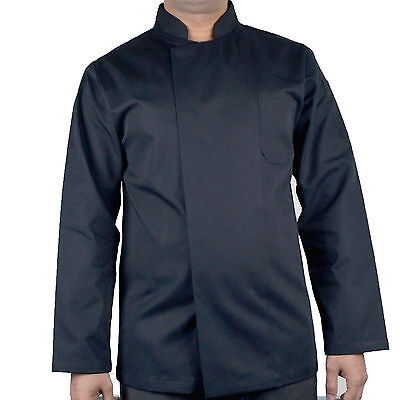 Long Sleeve Chef Jacket Coat Unisex Catering Kitchen Apparel Black Chef Jacket