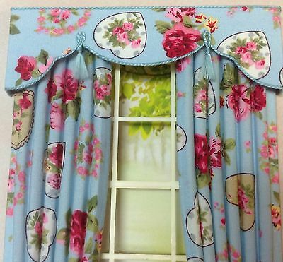12th FLORAL HEARTS Dollhouse Curtains LARGER SIZE 5 X 8""