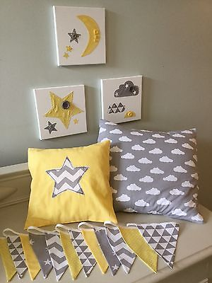 SET OF 3 HANDMADE GREY YELLOW CLOUD STAR MOON CANVASES nursery baby boy modern