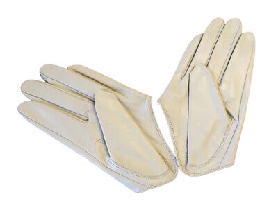 Ladies/Womens Leather Driving Gloves - Ivory