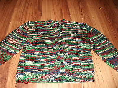 Handknit Gorgeous striped kids button up cardigan.  Size 4 - 5.  NWOT.
