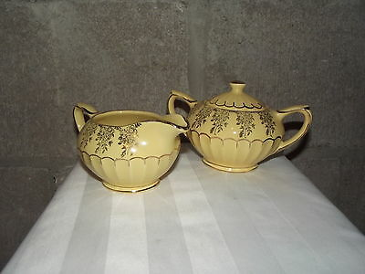 Sadler Yellow with gold Trim. CReamer and Sugar. Great collectible. EUC