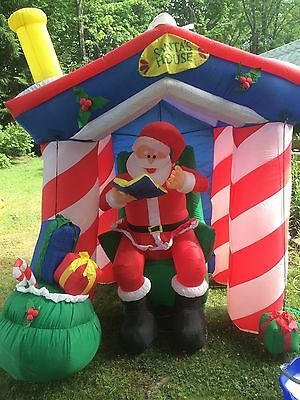 Santa 8 Ft Tall House Reading Story In House Inflatable , Used