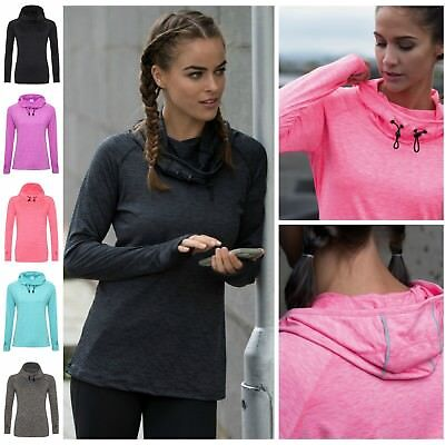 Womens Ladies Cowl Neck Long Sleeve Running Training Sports Gym Hooded Top Hoody
