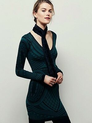 New Free People Intimately Not An Illusion Bodycon Seamless Dress Green XS/S