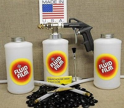 "Fluid Film Undercoating ""Pro"" Spray Gun Kit with Wands 100 Rust Plugs Drill Bit"