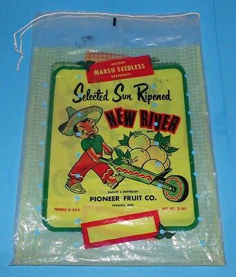 Vintage Pioneer Fruit Grapefruit Bag c 1961 Politically Incorrect