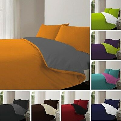 Duvet Set Reversible with Pillow-Cases and Fitted Sheet Bedding Set All Sizes