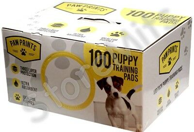100 PUPPY TRAINING PADS - Paw Prints 60cm x 40cm Pet Dog Puppies Poop Wee Mats