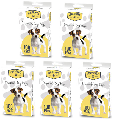 500 DISPOSABLE DOGGY BAGS - 5 x 100 Pack (25 x 24cm) Pet Dog Puppy Toilet kf Pup