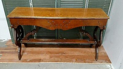 Reclaimed Antique 1890s Ornate Carved Oak Pipe Organ/Piano Bench with Storage
