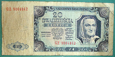 Poland 20 Zlotych Note , 1948 Issue, P 137