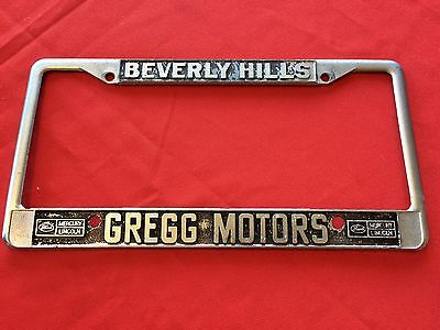 vintage 1960s ford lincoln mercury california beverly hills license plate frame