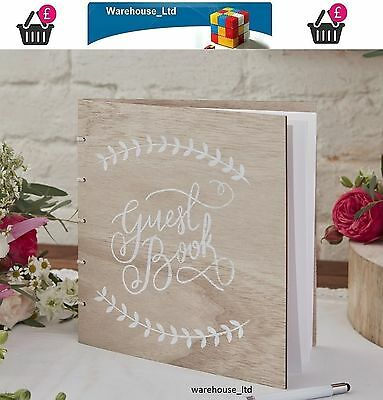 Ginger Ray Boho Wooden Guest Book 32 Blank Pages Vintage Wedding Supply