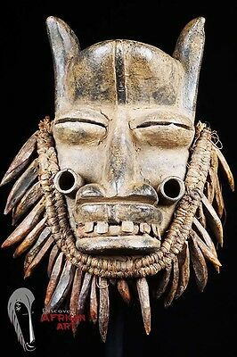 """Guere/Gere Wobe Mask wiyh Wooden """"Tiger Tooth"""" Beard and Metal Teeth"""