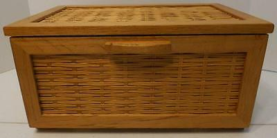 Small Wood And Wicker Bread Box Storage Box With Front Hinged Lid
