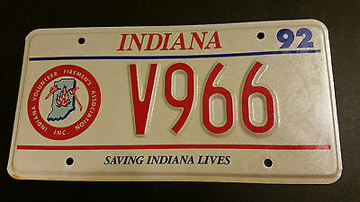 1992 Indiana V966 Volunteer Fireman License Plate