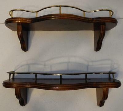 Set Of 2 Home Interiors Wood Wall Shelf With Metal Rail And Display Plate Groove
