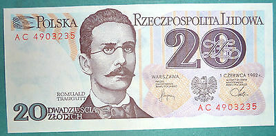 Poland 20   Zlotych Unc  Note , P 149,  Issued 01.06. 1982,