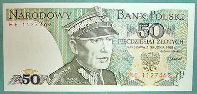 POLAND 50  ZLOTYCH UNC  NOTE , P 142 c  ISSUED 01.12. 1988,