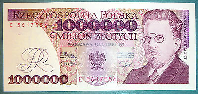 Poland 1 000 000 1000000  Zlotych Unc Note , P 157, Issued 15.02. 1991
