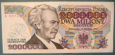 POLAND 2 000 000   ZLOTYCH UNC ERROR  NOTE , P 158 a, ISSUED 14.08. 1992,