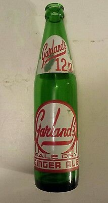 """Rare Canadian (North Bay, Ont) """"garland's"""" 12 Oz  Green Bottle- Red & White Acl"""
