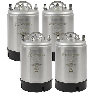 Kegco 2.5 Gallon Ball Lock Kegs - Strap Handle - NSF Approved - Set of 4