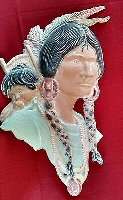 Native American Metal Art Wall Hanging Plaque Picture