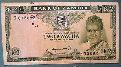 "ZAMBIA 2 KWACHA  NOTE  FROM 1969, P 11 c, SIGNATURE 4,  ""NO DOT"" ISSUE"