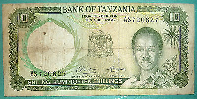 TANZANIA 10 SHILLINGI NOTE FROM 1966, P 2 a, SIGNATURE 1