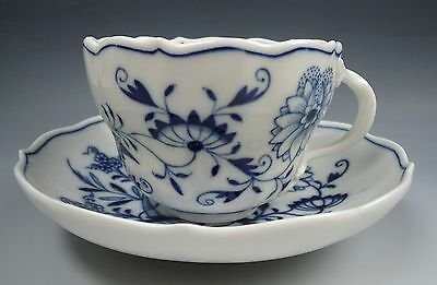 Meissen China BLUE ONION Scalloped Cup & Saucer Set(s) EXCELLENT