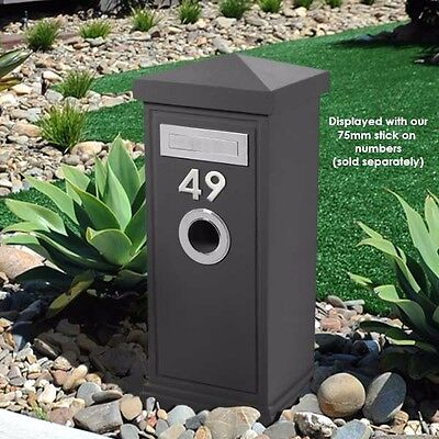 MILKCAN DESIGN - SP40 GREY Concrete LETTERBOX Modern PILLAR - CHROME FITTINGS
