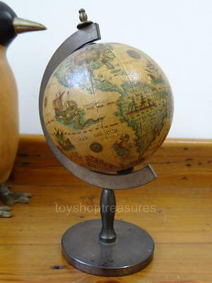 Mid Century Vintage Globe World Globe on Brass Stand Made in Italy