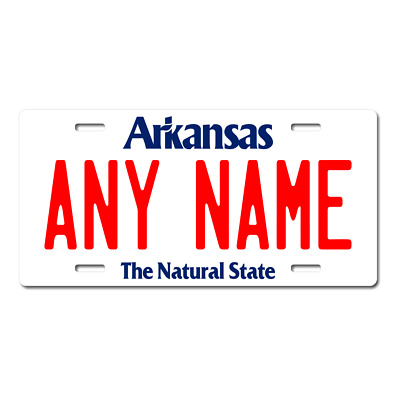 Personalized Arkansas License Plate for Bicycles, Kid's Bikes, Atv's & cars